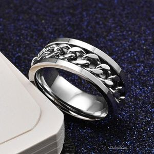 Other - Stainless Steel Curb Chain Spinner Band Ring